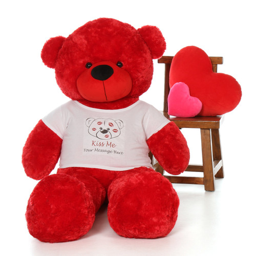 5ft Bitsy Cuddles Red Giant Teddy in Valentine's Day Kiss Me Shirt