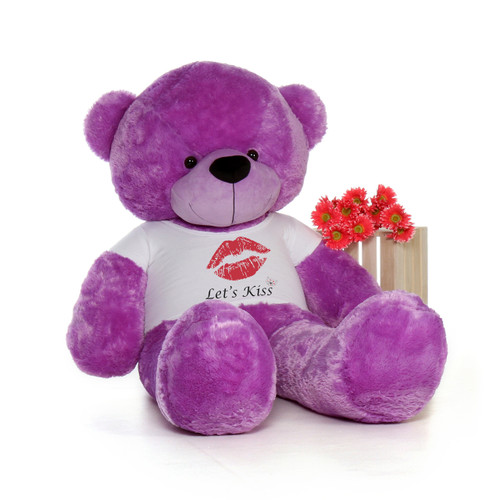 6ft DeeDee Cuddles Purple Giant Teddy Bear wearing a Let's Kiss T-Shirt for Valentine's Day