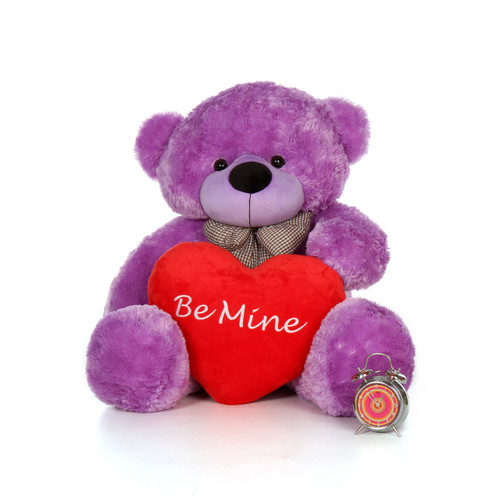 4ft DeeDee Cuddles Purple Teddy Bear with a Be Mine pillow