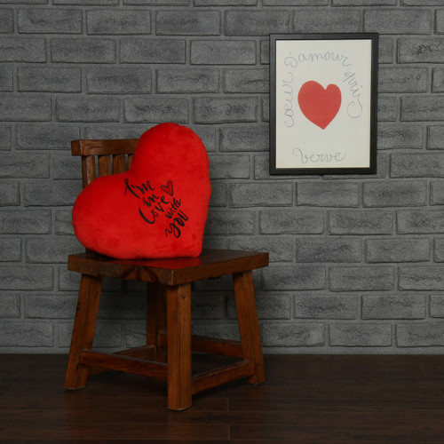 red heart pillow white embroidery 'I love you'