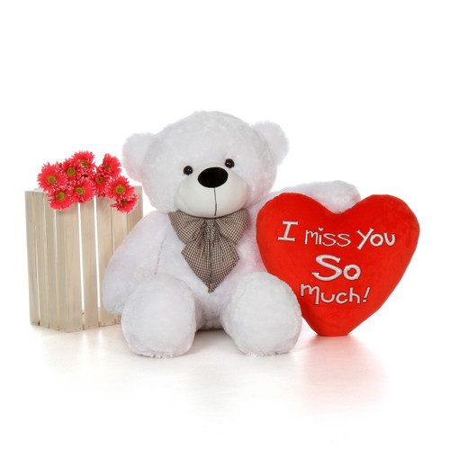 Super Soft Huge White Teddy Bear with I Love You This  Much Heart - Valentine's Day Gift