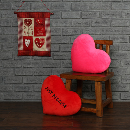 Just Because and solid pink heart pillow