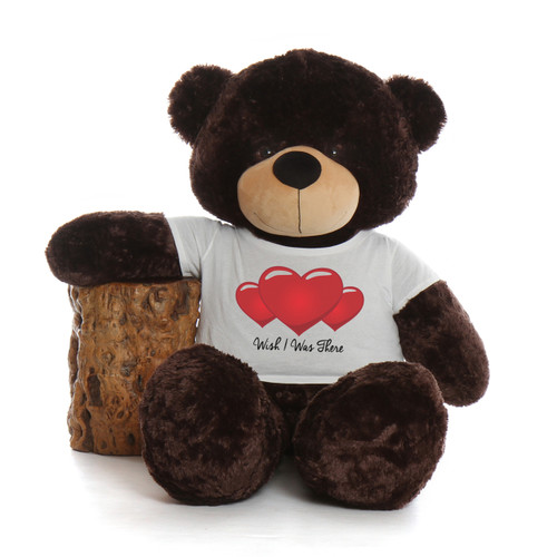 5ft Brownie Cuddles Giant Chocolate Bear in a Wish I Was There T-Shirt