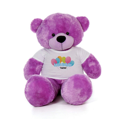60in Purple DeeDee Cuddles Happy Birthday Personalized Teddy Bear