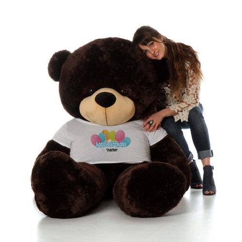 6 Foot Chocolate Brownie Cuddles Happy Birthday Personalized Teddy Bear