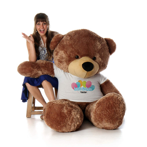 6 Foot Mocha Sunny Cuddles Happy Birthday Personalized Teddy Bear