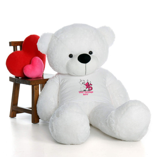 60in White Coco Cuddles Make a Wish Personalized Birthday Teddy Bear