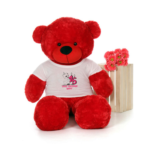 60in Red Bitsy Cuddles Make a Wish Personalized Birthday Teddy Bear