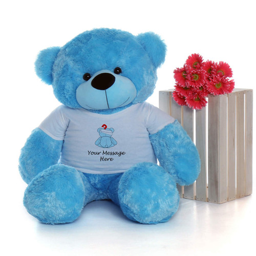 4 Foot Blue Teddy Bear with Get Well soon T-shirt - Blue Teddy Bear Bandage Design