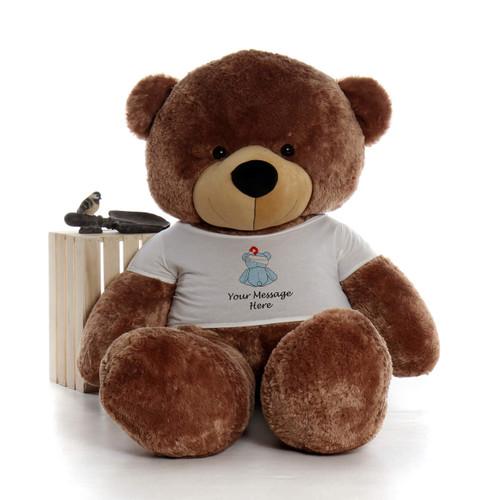 72in Mocha Sunny Cuddles in personalized blue teddy bear in bandage shirt