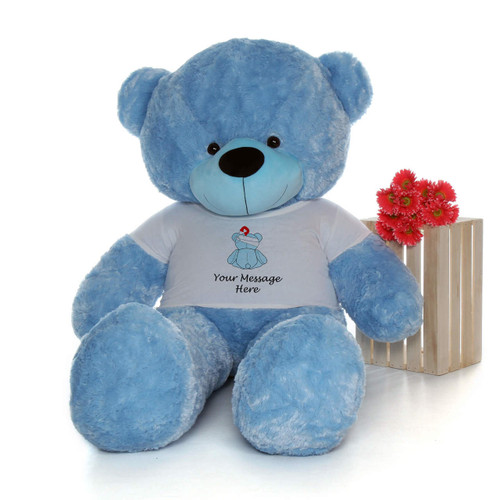 72in Blue Happy Cuddles in personalized blue teddy bear in bandage shirt