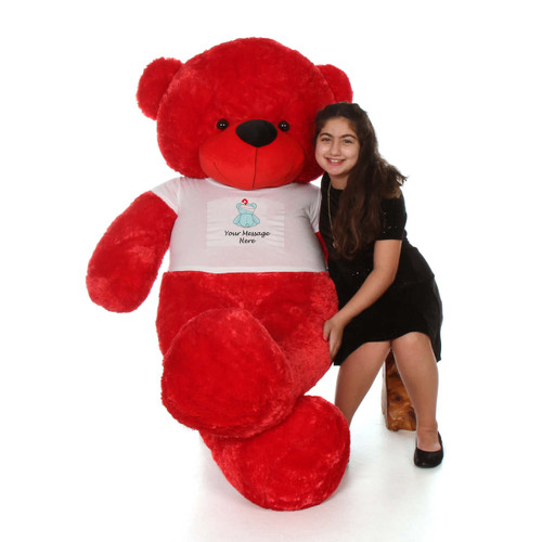 72in Red Bitsy Cuddles in personalized blue teddy bear in bandage shirt