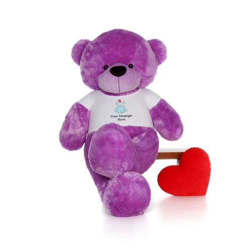 72in Purple DeeDee Cuddles in personalized blue teddy bear in bandage shirt
