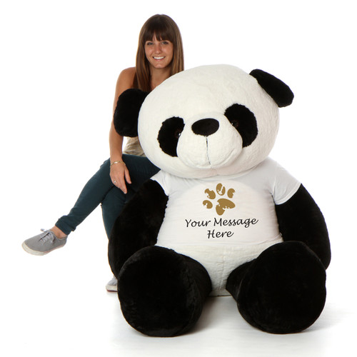 6ft Giant Panda Teddy Bear with Personalized Paw print shirt