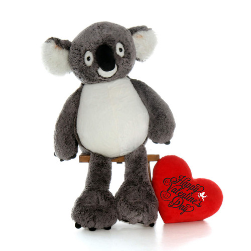 34 inch Koala Bear with Happy Valentines Day Red Pillow Heart