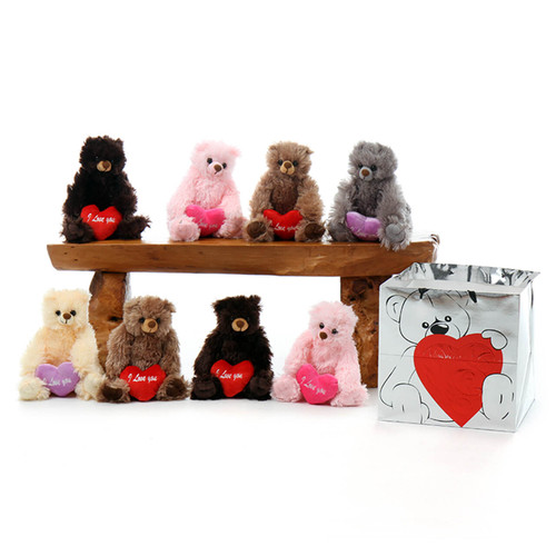 Teddy Bear Package including light pink, dark chocolate brown, mocha brown, grey and cream
