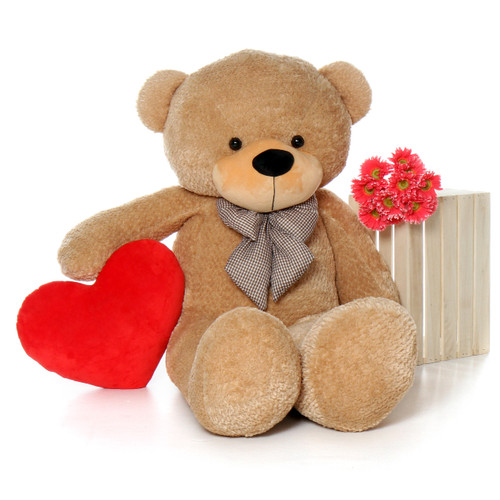 5 Foot Life Size Teddy Bear with Custom Heart Message