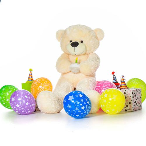 Giant Cozy Cream Teddy Bear with Birthday Cake