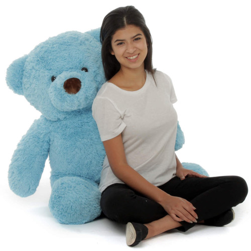 Big Adorable Blue Sammy Chubs Stuffed Teddy Bear 38in