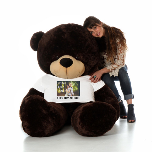 Chocolate Brown Teddy Bear with Custom Upload Your Own Image T-shirt