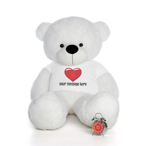 5 Foot White Personalized Teddy Bear