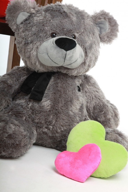 Silver Teddy Bear 27in Diamond Shags