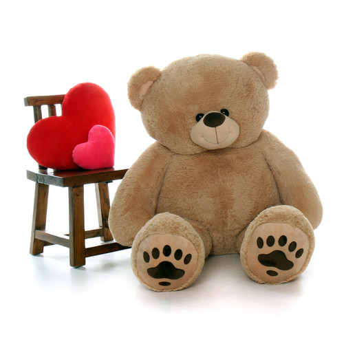 Giant 5 Foot Amber-Tan Teddy Bear with Paw Prints