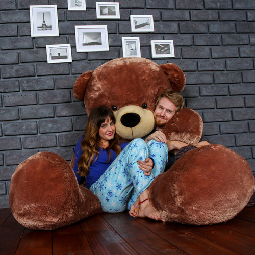 Biggest Giant Teddy Bear! 7 Foot Tall Mocha Brown Sunny Cuddles