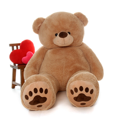 Giant 7 Foot Amber-Tan Teddy Bear with Paw Prints