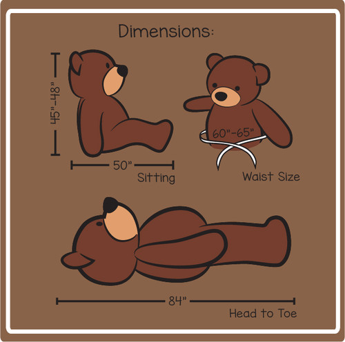 7 Foot Giant Teddy Bear Cuddles Dimensions