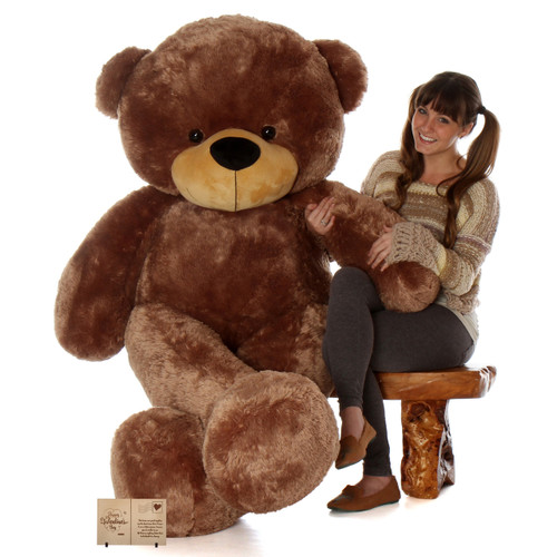 Biggest 6ft Life Size huggable Mocha Brown Teddy Bear Sunny Cuddles