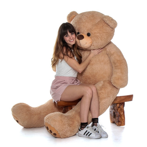 Super Soft Adorable Huge 6 Foot Teddy Vear with Amber Tan Fur