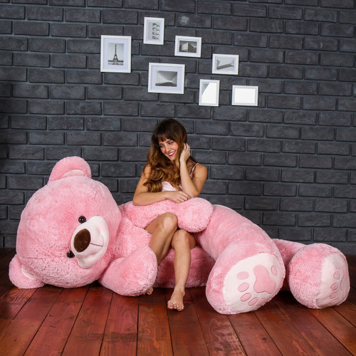Giant Life Size Teddy Bear Stuffed Animal in Pink - Valentine's Day Present for Girlfriend