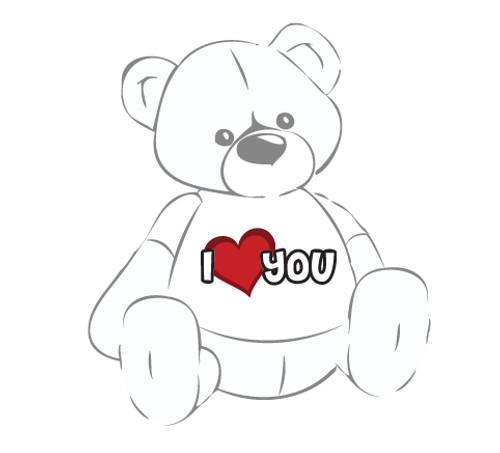 Giant Teddy Bear with I Love You Heart