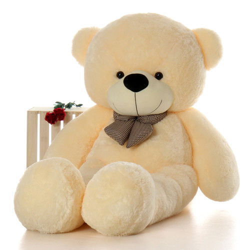 6ft Life Size Teddy Bear Cozy Cuddles with soft cream fur