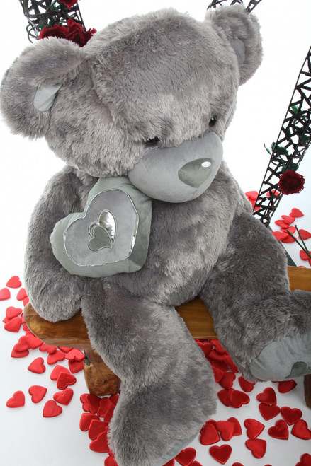 42in Silver Teddy Bear Snuggle Pie Big Love