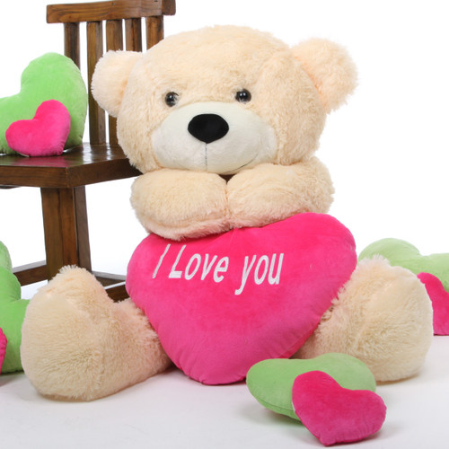Cozy Love Cuddles cream teddy bear with heart 38in