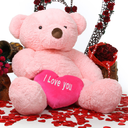 Gigi Love Chubs pink teddy bear with heart 55in