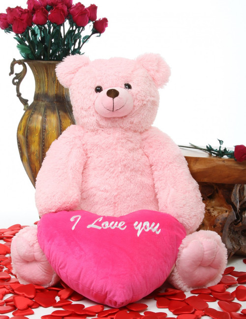 Light pink darling tubs with hot pink heart teddy bear
