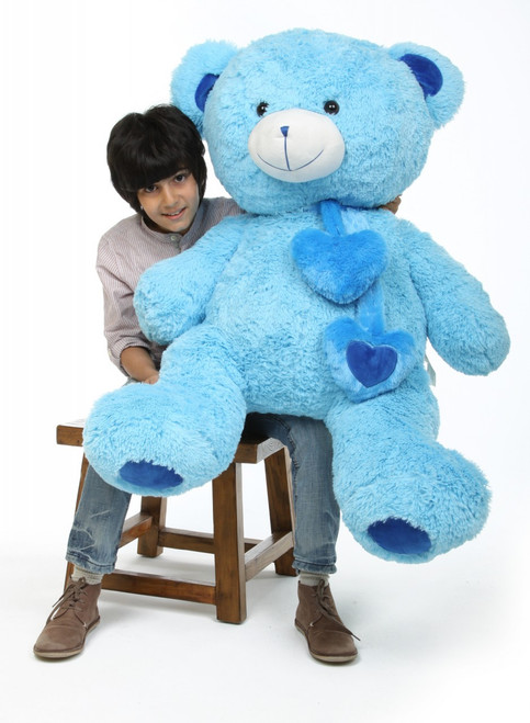 Shorty Hugs Jumbo Cuddly Blue Heart Teddy Bear 45in