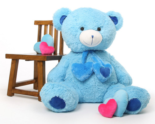 45in Blue Shorty Hugs Teddy Bear