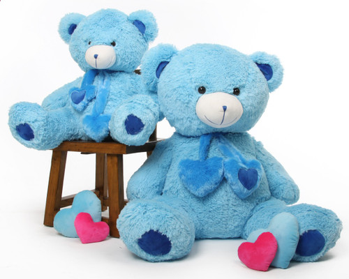 Blue 45in Sky Blue Shorty Hugs Teddy Bear