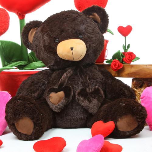 Dark Brown Chocolate Big Papa Hugs Huggable Heart Teddy Bear