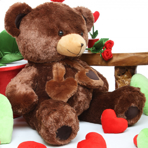 36 inches Huge Lucky Hugs Chestnut Teddy Bear