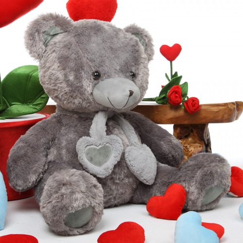 Big Silver Teddy Bear 36in Angel Hugs