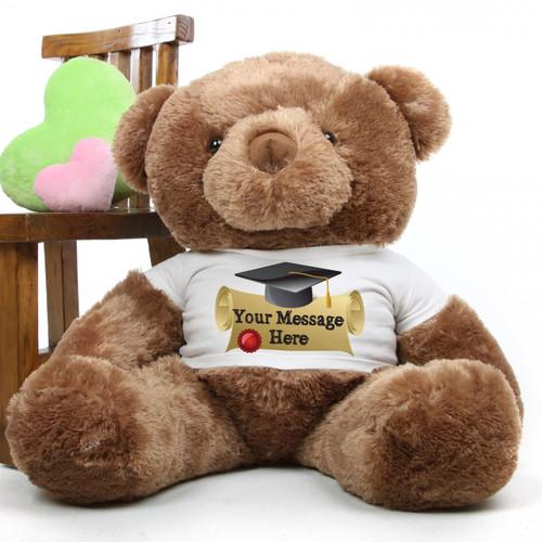 Buttercup Chubs mocha brown personalized graduation teddy bear 38in