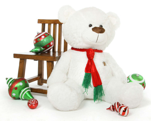 45in Waldo Holiday Shags white teddy bear