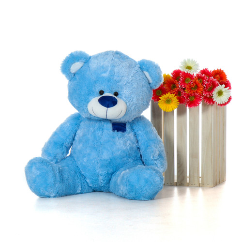 Blue Sitting Teddy Bear by Giant Teddy Brand