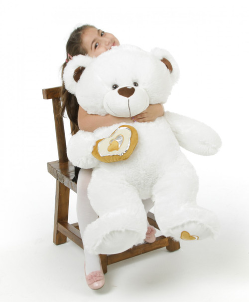 36in Chomps Big Love huggable white teddy bear