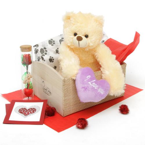 Heart Conqueror Cream Teddy Bear Hug Care Package 18in